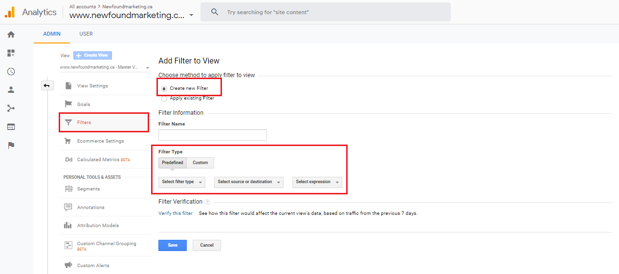 Create a New Filter In Google Analytics