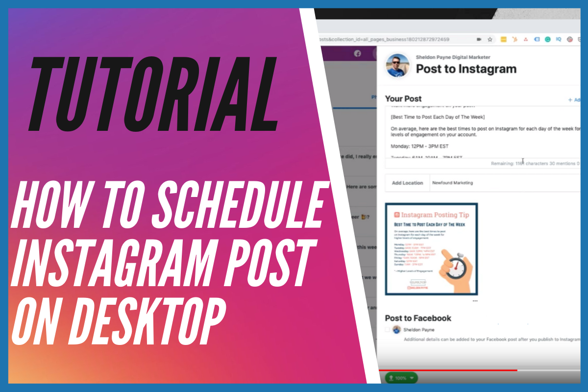 Tutorial How to Schedule Instagram Post on Desktop with Facebook Creator Studio - Sheldon Payne